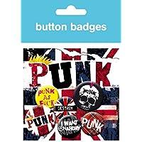 Punk Rock - Anarquía, Union Jack, 4 X 25mm & 2 X 32mm Chapas Set De Chapas (15 x 10cm)