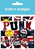 1art1 64168 Punk Rock - Anarchie, Union Jack, 4 X 25mm & 2 X 32mm Buttons Button Pack 15 x 10 cm