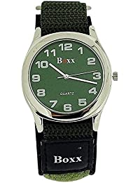 Boxx m2179.02–Wristwatch men's, Fabric Strap Green