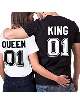 Parejas Camiseta King Queen T-Shirt 100% Algodón Shirts Impresión 01 2 Piezas de Manga Corta Rey Reina Regalo...