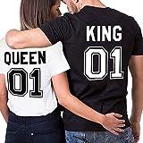 King Queen Couple Shirt T-Shirt 100% Coton Tees Shirts pour Roi Reine Imprimé 01 Manches Courtes Anniversaire Cadeau 2 Pièces Été(BK-King-M+WH-Queen-S)