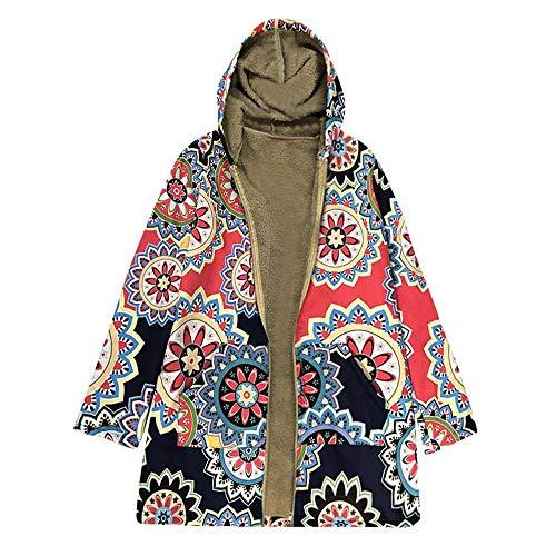 Luckycat Damen Winter Warm Outwear Print Mit Kapuze Taschen Vintage Oversize Mäntel Jacken Mäntel Sweatjacke Winterjacke Fleecejacke Steppjacke