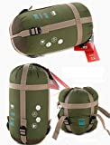 JZK® ultra ligero, cálido saco de dormir saco de dormir de algodón pequeña, acampar al aire libre impermeable dormir saco de dormir de verano Bolsa, apto para cuatro temporadas (ejército verde)