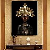 Geiqianjiumai Femme Noire Africaine Abstraite Couronne Or Peinture Peinture Murale Affiches et estampes scandinave Salon Murale