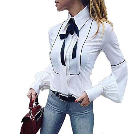 SUCES Damen Langarm Hemd Freizeit V-Ausschnitt Bluse Frauen Frühling Oberteile Elegant Business Oberteile Slim Fit Tops…