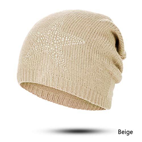 EJKDF Winter Herbst Beanie Hüte Frauen Weiche Strickmützen Hut Weibliche Strass Baumwolle Hut Mütze K
