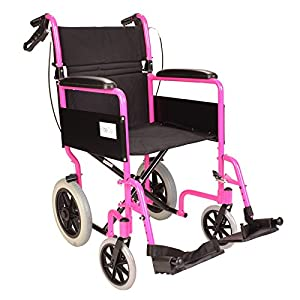 Lightweight folding transit travel wheelchair with brakes - only 11kg - Pink