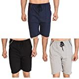 #7: Dia A Dia Men's Cotton Shorts Combo (Free Size, Blue, Black, Olive Green) - Set of 3