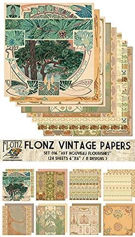 Paper Pack (24sh 15x15cm) Art Nouveau Frames Flourishes FLONZ Vintage