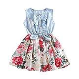 Miyanuby Vestiti Neonata dei Bambina Vestito di Fiori in Denim Abiti da Copricapo da Spettacolo per Feste Principessa Costume 1-5 Anni