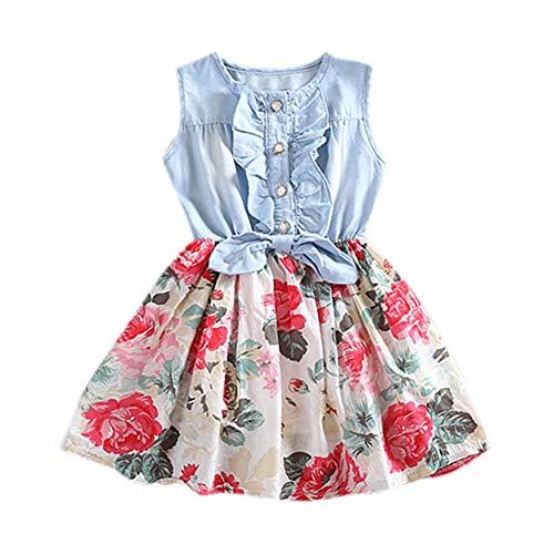 Miyanuby Kinder Baby Mädchen Kleidung Blume Denim Kleider Party Festzug Playwear Kleider Prinzessin Kostüm 1-5 Jahre (Playwear Kostüm)