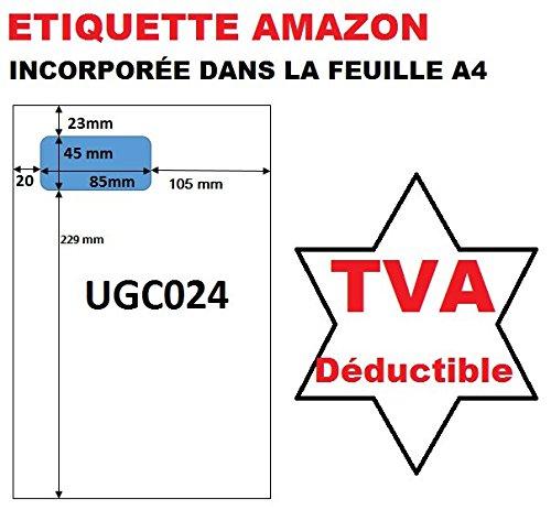 500 feuilles de papier avec étiquette intégrée pour facturation via Seller central Amazon - Etiquette format standard 45 X 85 mm