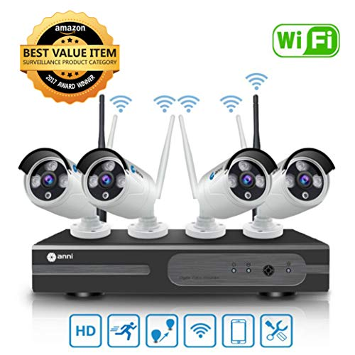 Anni Kit de Cámaras Seguridad WiFi Vigilancia Inalámbrica Sistema 1080P 4CH HD NVR, (4) 1.0MP megapíxeles 720P Cámara CCTV NVR Kit de Seguridad, P2P, Outdoor/Indoor visión nocturna de Cámara De sistema De Vigilancia, no se necesita cable de video, NO HDD