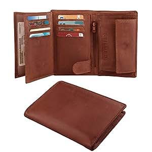 STILORD Portefeuille cuir lisse véritable porte monnaie couleur Cognac brun