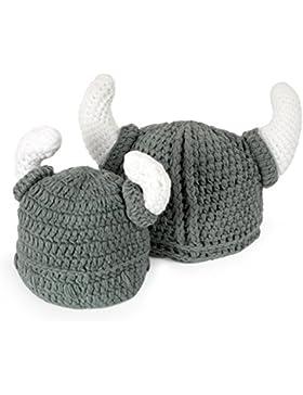 Ypser Cute Bull Horn Beanie Cap Handmade Knitted Viking Crochet Hats