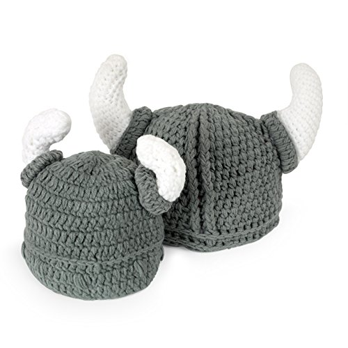 Ypser Cute Bull Horn Beanie Cap Handmade Knitted Viking Crochet - Baby Wikinger Kostüm