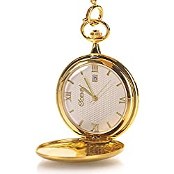 Classic Smooth Vintage Stainless Steel case Roman Numbers Mens Pocket Watch With Calendar Gold