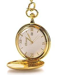 Classic suave Vintage caso de acero inoxidable números romanos para hombre reloj de bolsillo con calendario oro