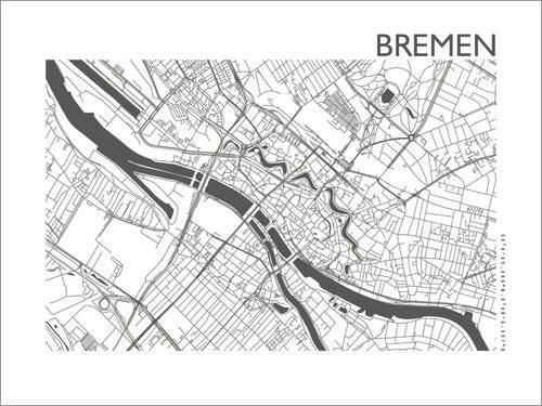 Poster 40 x 30 cm: Stadtplan von Bremen von 44spaces - hochwertiger Kunstdruck, neues Kunstposter