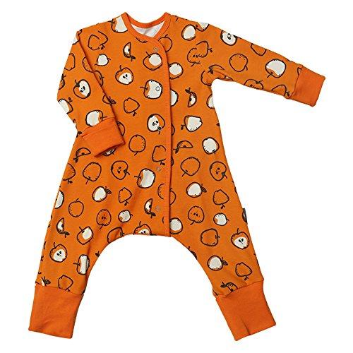 Baby Schlafanzug / Strampler INNOVATION - WINDELN WECHSELN einfach gemacht! GELB, ORANGE oder GRAU. Bambinizon Schlafstrampler mit Knöpfen (92,...