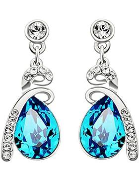 Neoglory Jewellery Silber mit Swarovski Elements Ohrringe Tropfen blau und weiß