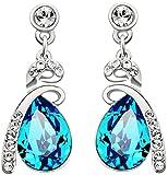 Neoglory Jewellery Silber mit Swarovski Elements Ohrringe Tropfen blau und weiß …
