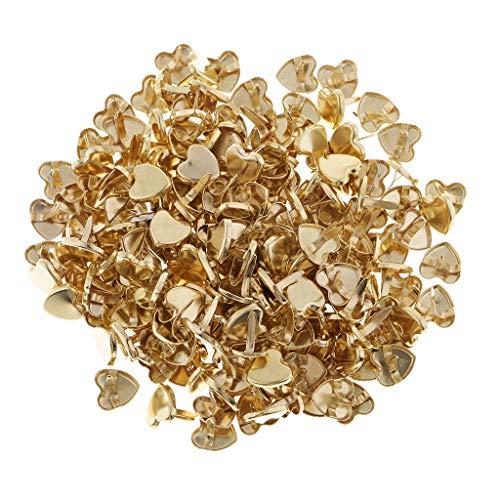 FLAMEER 200 Stück 9mm Gold überzogene Herz Mini Brads Musterbeutelklammer Scrapbooking Verschönerung DIY Handwerk - Gold Scrapbooking Brads