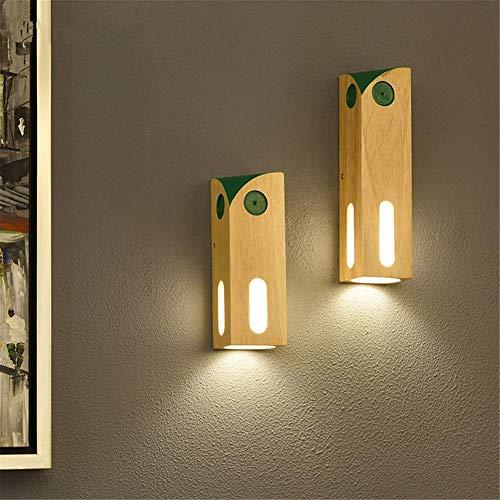 Wandleuchte Einfache Cartoon Nachttischlampe Kinderzimmer Dekor Kreative Eule Design Natürliche Holz Rechteck Grün Links Wandleuchte für Haus Wohnzimmer Schlafzimmer Restaurants Café, Klein,Groß