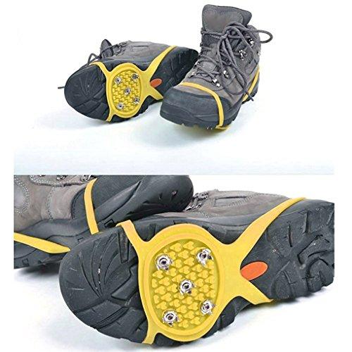 QHGstore 1 Paar 5 Zähne PE Eis Schnee Steigeisen Anti Blockier System Boot Überschuhe Spike Klampen Eis Greifer für Outdoor Klettern Wandern Wandern Gelb fht5sbsYn