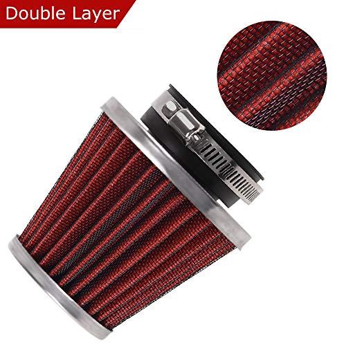 Evermotor Universal Doppelschicht Stahl Filter Luftfilter Rot 52mm 53mm 54mm für Motorrad Scooter ATV Moped Roller