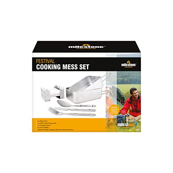 Milestone Camping 66000 Festival Cooking Set Folding Solid Fuel Stove Fork Knife Spoon 2 x Mess Tins, Silver 3
