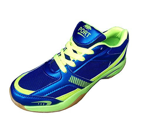 PORT Mens Synthetic Sports Badminton Shoe For Men, Boys, Women, Girls & Junior Upper PU Material Non Marking Sole Outdoor Indoor Playing - Best in Badminton & Other Games Basketball, Volleyball, Running, Gymnastic, Jogging, Walking & Weight Lifting Sports Shoe (5 UK/IND)