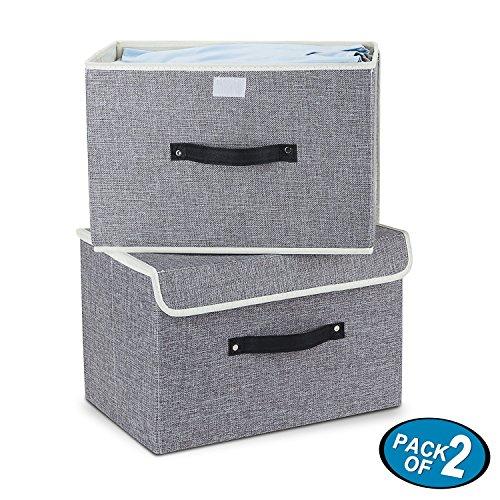 Mee'life cesti per la conservazione, set di due contenitori di immagazzinaggio pieghevoli con coperchi e manici cestello portaoggetti contenitori per organizer cassetto in tessuto di cotone (grigio)