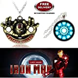 (2 Pcs AVENGER SET) - IRONMAN HANDS (GOLD) & IRON MAN ARC REACTOR (SLV2) IMPORTED PENDANTS WITH CHAIN. LADY HAWK DESIGNER SERIES 2018. ❤ ALSO CHECK FOR LATEST ARRIVALS - NOW ON SALE IN AMAZON - RINGS - KEYCHAINS - NECKLACE - BRACELET & T SH
