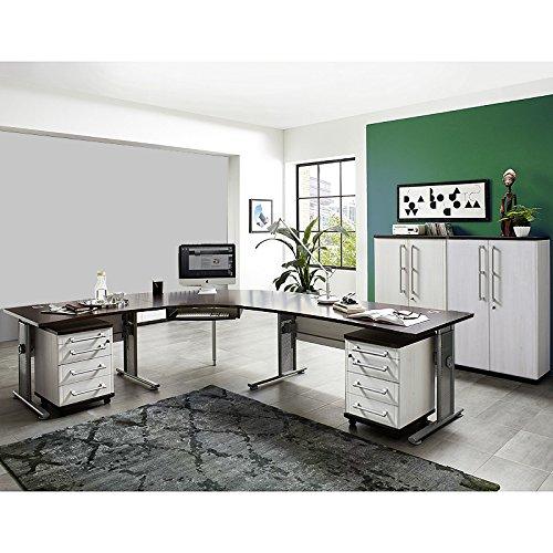 Büromöbel Set Lärche Nb. Eiche Havanna höhenverstellbare Schreibtische Rollcontainer Aktenschränke