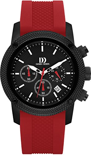 Danish Design Men's Quartz Watch with Black Dial Chronograph Display and Red Rubber Strap DZ120212