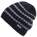 Wantdo Femme Bonnet Tricoté à Rayures Épais Beanie Chaud Chapeau Noir