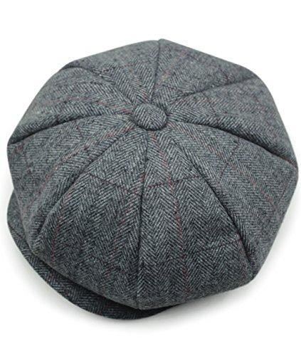 2487946c97a98 Hombres de estilo Newsboy 8 piezas de casquillo plano Herringbone lana Hat  (18)