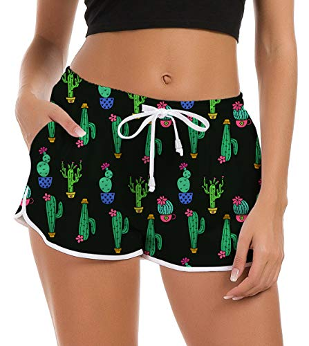 Damen Mädchen Sporthosen Badeshorts 3D Kaktus Gedruckt Wassersport Surfen Bikini Shorts Badeanzug Shorts Bequeme Lose Pyjama Hose Trainingshose 90er Jahre Outfit Damen M