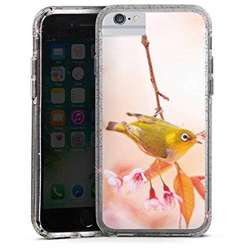 Apple iPhone 6s Bumper Hülle Bumper Case Glitzer Hülle Bird Vogel Natur Bumper Case Glitzer rose gold