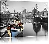 schöner Hafen in Danzig - Polen schwarz/weiß Format: