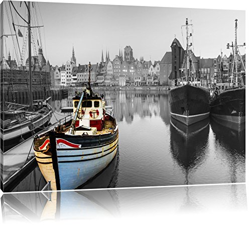 schöner Hafen in Danzig - Polen schwarz/weiß Format: 100x70 auf Leinwand, XXL riesige Bilder fertig gerahmt mit Keilrahmen, Kunstdruck auf Wandbild mit Rahmen, günstiger als Gemälde oder Ölbild, kein Poster oder Plakat