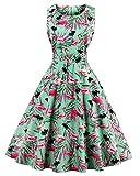 ZAFUL Damen Retro Elegante Cocktailkleider 50er Jahre Hepburn Ärmellos Abendkleid Swing Kleider-Grüner Flamingo-XL