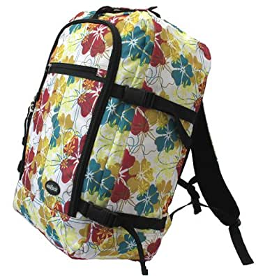 """OUTBACK LITE"" Cabin Maximum Approved Carry On Bag Backpack massive 40 litre travel luggage 50x40x20 cm (Saffron/Floral)"