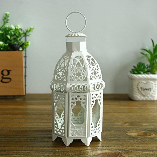Chandelier en verre de cru blanc Décorations de noël Lanterne d'atterrissage Décorations pour la maison créatives Art de fer creux Traîner Jardin de style-A 11x20cm(4x8inch)