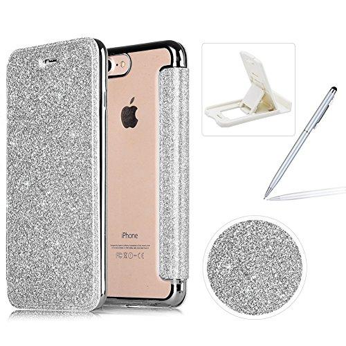 Coque iPhone 7 Plus Clapet,Herzzer Luxe Bling Glitter Paillettes Transparente Clair TPU Silicone Protector Fonction Stand et Fente Carte Bumper pour iPhone 8 Plus/7 Plus (5,5 Pouces) - Argent