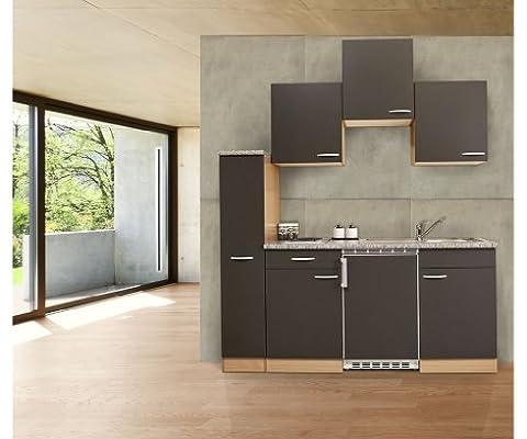 respekta Küchenzeile Küchenblock Single Küche Buche GRAU 180 cm 150 cm + 30 Apothekerschrank