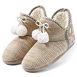 Artyton Hausschuhe Slippers Baumwolle Pantoffeln mit Plüsch Rutschfest Winter Indoor für Damen, Apricot, 40 EU