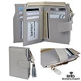 Befen Frauen RFID Blocking Wallet Full Grain Leder Damen Kleine Compact Bifold Leder Geldbörse Front Tasche Mini Wallet Kartenhalter mit 16 Card Slot - Grau