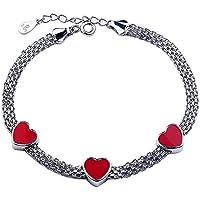 weeno da donna affascinante ciondolo 3A forma di cuore rosa 925braccialetto in argento Sterling reti